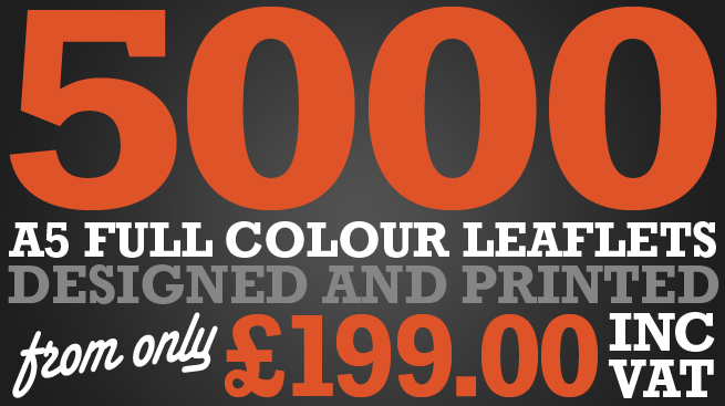 5000 leaflets designed and printed from only £199