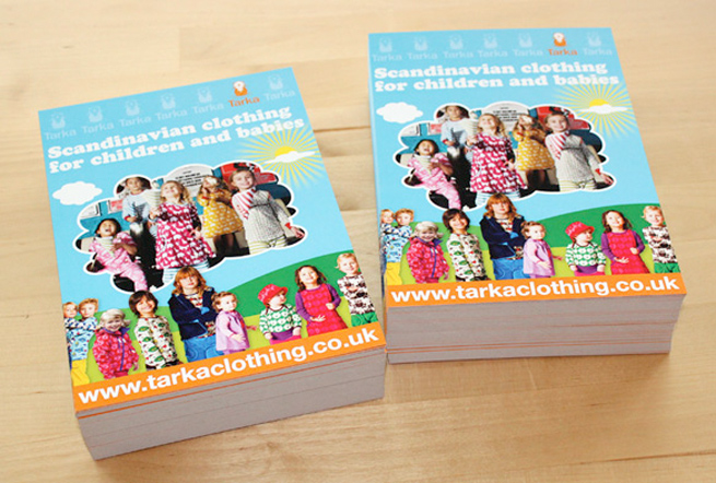 Colourful A5 leaflet designed for Tarka Clothing