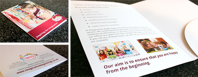 A5 presentation folder we designed for imaginative beginnings for Imaginative Childcare