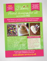 A5 Leaflet we designed for Bloom Service