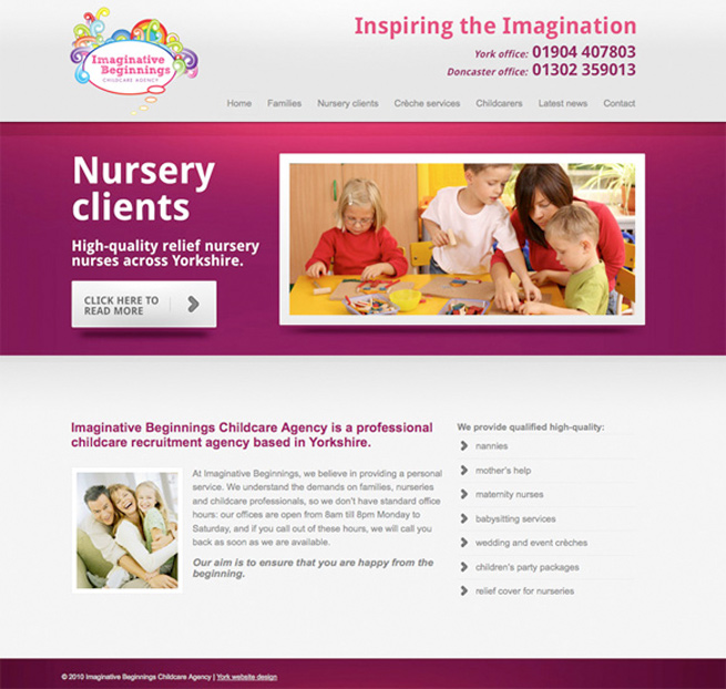 The new imaginative childcare website we have just designed