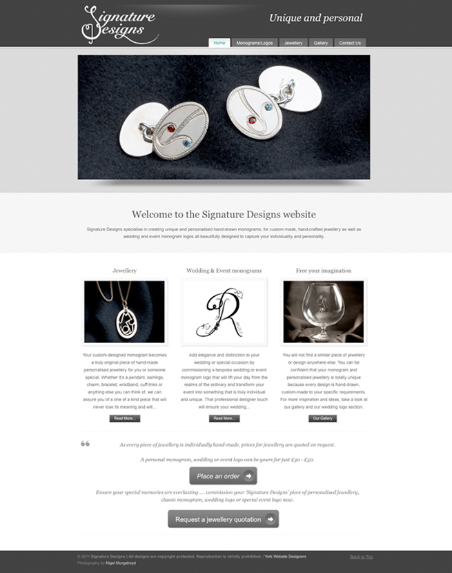 The new website we designed of Signature Designs