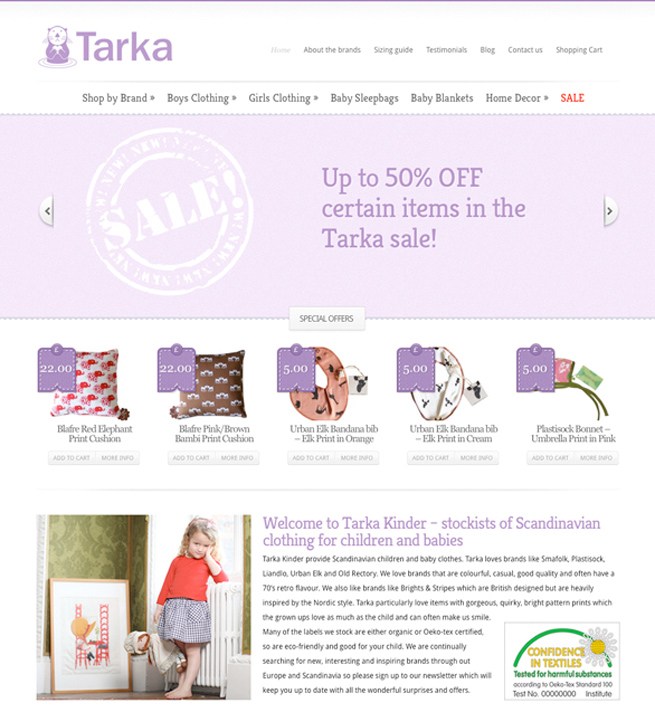 Online webstore for Tarka Clothing