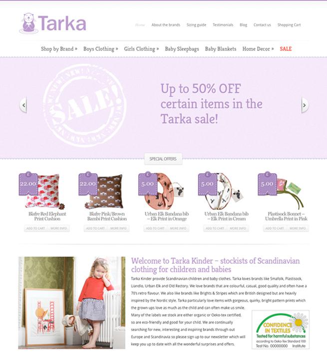 Online webstore for Tarka Clothing