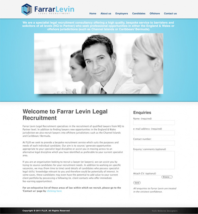 York Legal Recruitment Agency Farrar Levin's new website