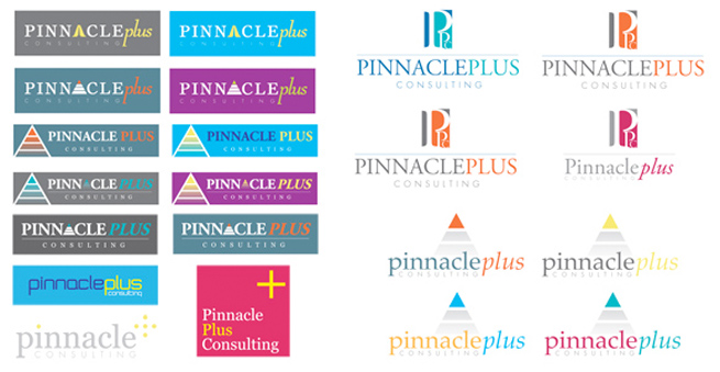 concept logos we created for pinnacle plus consulting